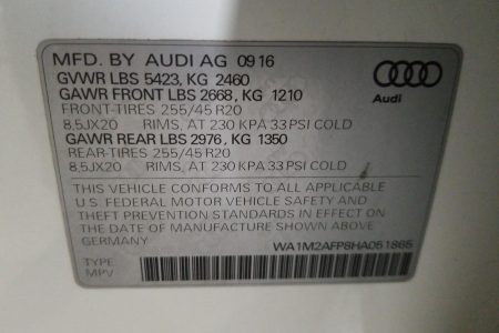 <span>SOLD</span> 2017 Audi Q5 4C PREMIUM Plus – FLEX FUEL, ALL WHEEL DRIVE full